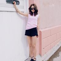 夏季马卡龙粉色T恤娇嫩降温