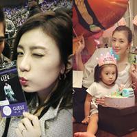 【图】贾静雯女儿����庆两岁生日双手托腮模样甚是可爱
